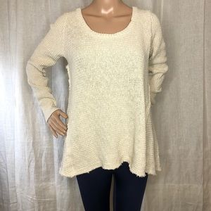 Kaisely Knit Raw Hem Pullover Sweater Sz M
